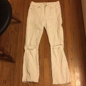Madewell white high waisted destructed jeans 27